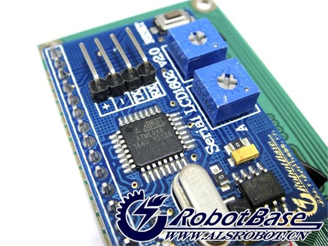 Serial LCD1602字符液晶板,主板采用全新2行16个字符液晶,模块不仅具有对比度调节旋钮、背光灯调节旋钮,还具有复位按钮和TTL通信接口,可以与各种具有串口的控制器相连接使用,无需再买相关转接板。对于Arduino初学者来说,不必为繁琐复杂液晶驱动电路连线而头疼了,这款液晶模块真正意义上将电路简化,直接将此模块插到Sensor Shield V5.
